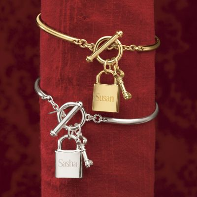 Name Lock/Key Charm Wire Bangle