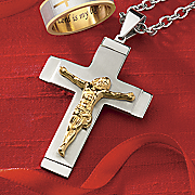 stainless steel two tone crucifix pendant