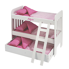 Personalized Doll Bunk Bed with Trundle