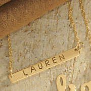 10k gold name mini bar necklace
