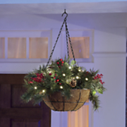 lighted berries and cones hanging basket