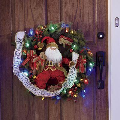 Lighted Santa Wreath