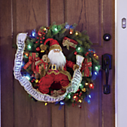 Lighted Santa Wreath