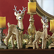 set of 2 glitter dusted reindeer