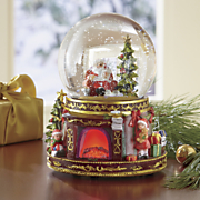 musical santa fireplace globe