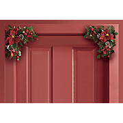 set of 2 lighted poinsettia door corners