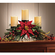 pine and poinsettia candelabra