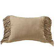 burlap fringed oblong pillow