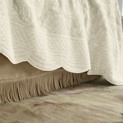 Fringed Burlap Bedskirt and Pillow