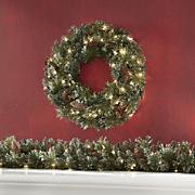 Glitter Cashmere Pre-Lit Wreath and Garland