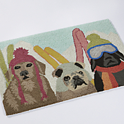 skiing dogs indoor outdoor mat