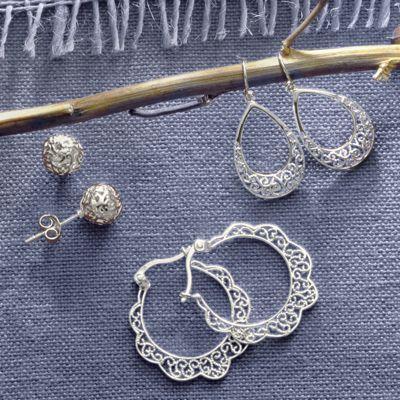 3-Piece Sterling Silver Earring Set