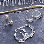 3 piece sterling silver earring set