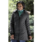 chevron quilted mid length coat by totes