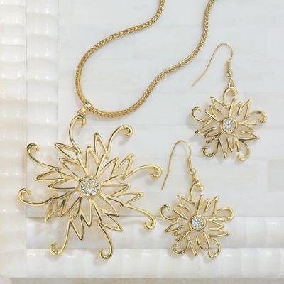 Midnight Velvet Star Cubic Zirconium Necklace and Earrings