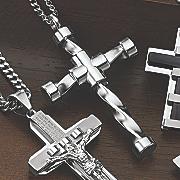 capped end cross pendant
