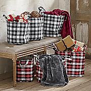 set of 3 plaid baskets