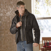 double zip leather jacket