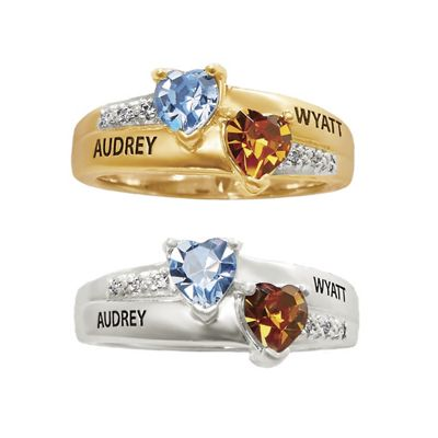 """""""Someone Special"""" Name/Birthstone Heart Ring with Cubic Zirconia Accents"""