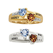 someone special name birthstone heart ring with cubic zirconia accents