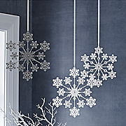 set of 3 sparkling snowflakes