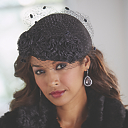 Floral Pillbox Hat with Lace