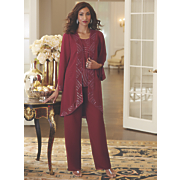 Anastasia Hand-Beaded 3-Piece Pant Set