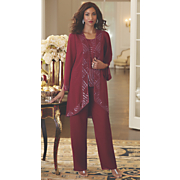 anastasia hand beaded 3 piece pant set