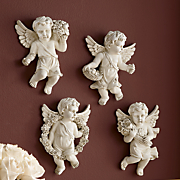 set of 4 bountiful wall cherub plaques