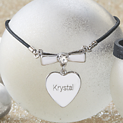 personalized heart bow necklace
