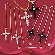 Glass Bead Cross Wire Earrings