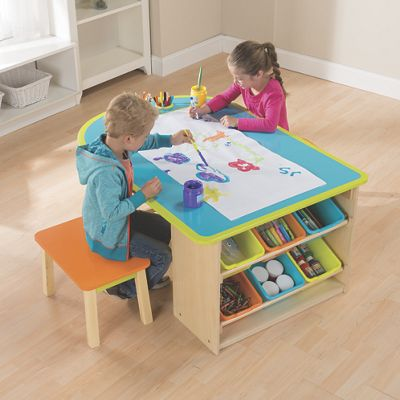 Kids art table with stools and storage from one step ahead for Table for kids room