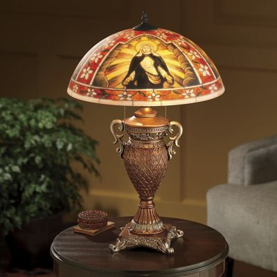 Hand-Painted Blessed Virgin Mary Lamp
