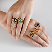 set of 6 flower rings