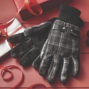 wool blend plaid gloves