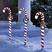 3 piece candy cane solar stake light set
