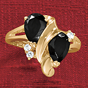 onyx double pear ring with cubic zirconia accents