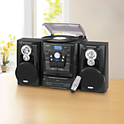 music system with 3 speed turntable bluetooth cd and cassette by jensen