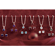 silvertone gemstone pendant and post earring set