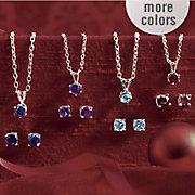 Gemstone Pendant and Post Earring Set