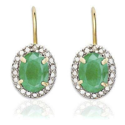 Oval Gemstone and Diamond Leverback Earrings