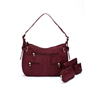3-Piece Burgundy Handbag Set