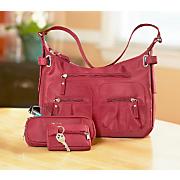 6 pocket 4 pcs handbag set burgundy