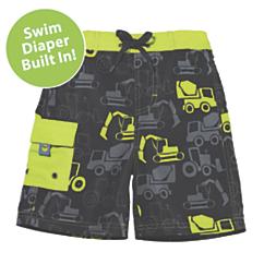 sun smarties truck swim trunks with diaper