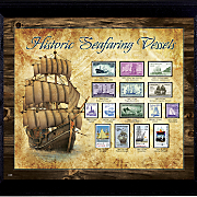 ships of stamps in wall frame