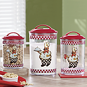 3 piece bon appetit chef canister set