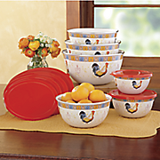 12-Piece French Country Rooster Nesting Bowls Set