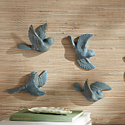 Set of 4 Summer Song Teal Birds