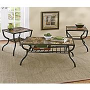 3-Piece Faux Marble Table Set