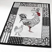 rooster gray rug